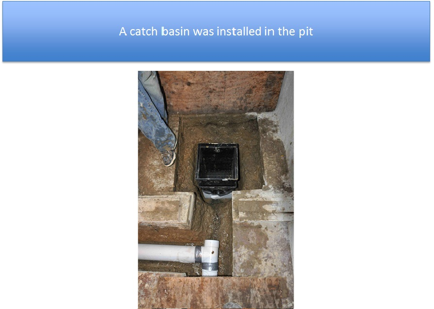 Catch Basin Installed In Sump Pump Pit