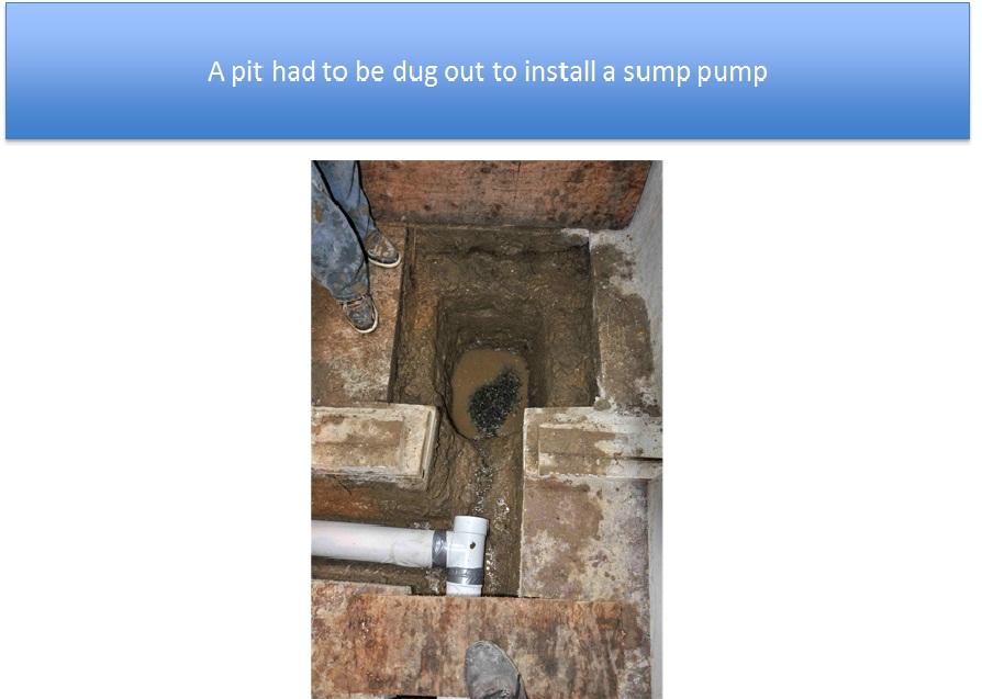 Sump Pump Pit Dug Out